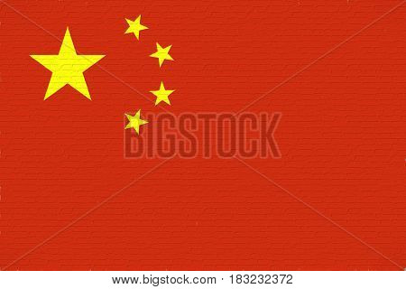 Illustration of the flag of China looking like it is painted onto a wall.