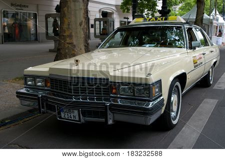 BERLIN - MAY 28: Cars Cadillac Fleetwood Brougham (Taxi) the exhibition