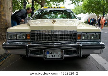 "BERLIN - MAY 28: Cars Cadillac Fleetwood Brougham (Taxi) the exhibition ""125 car history - 125 years of history Kurfurstendamm"" May 28 2011 in Berlin Germany"