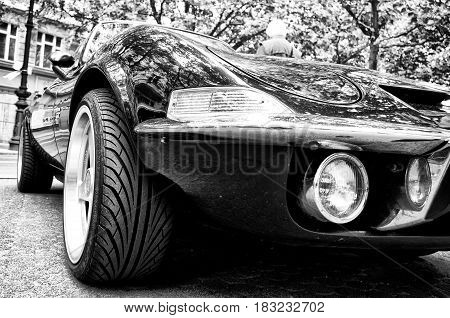 BERLIN - MAY 28: A sports car Opel GT (Black and White) the exhibition