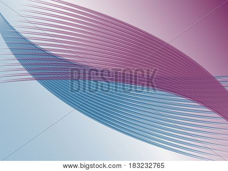 Abstract horizontal background in soft purple and blue diagonal wavy line shapes vector EPS 10
