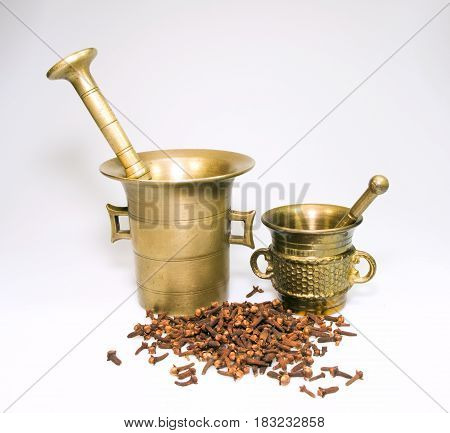 Two bronze historic mortars with rose-apple spice