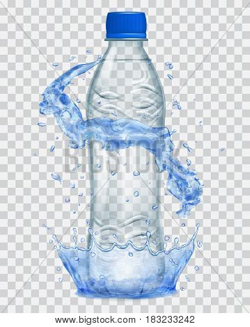 Transparent water crown and water splashes in blue colors around a gray transparent plastic bottle with blue cap filled with mineral water. Transparency only in vector file