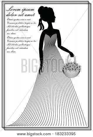 Lady with flower basket monochrome line art drawing in victorian style invitation template announcement leaflet flyer bill in old-fashioned design vector EPS 10