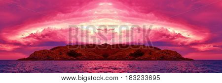 Awesome super-size red pink island sunset panorama with water reflections Featuring - Striking vivid crimson storm cloud over island and water.