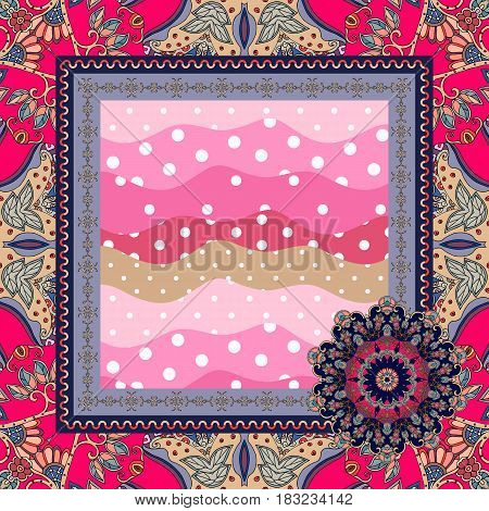Napkin with ornamental frame and stylized bow - flower. Beautiful vector illustration.