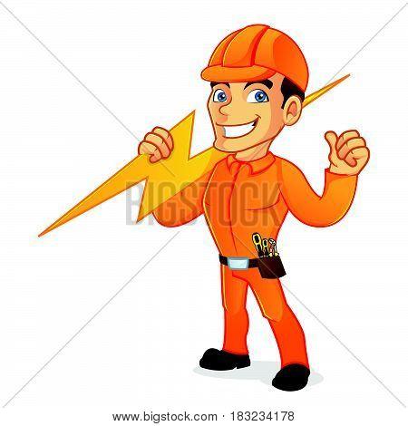 Electrician Carrying Lightning Bolt