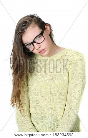 Suspicious Teen Girl With Glasses For A View On A Clean White Background..