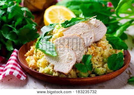 Chicken and Couscous Salad with Herbs.selective focus