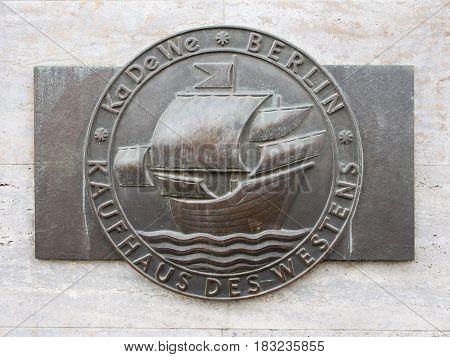 BERLIN GERMANY - APRIL 14 2017: Bronze Emblem of KaDeWe Famous Department Store In Berlin