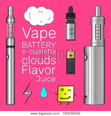 Vape shop set e-cigarette vector matte icons pinky art
