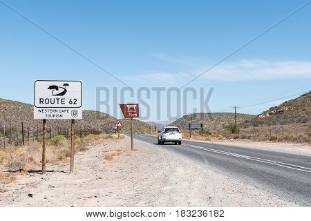 LADISMITH SOUTH AFRICA - MARCH 25 2017: The scenic route R62 between Ladismith and Barrydale in the Western Cape Province of South Africa