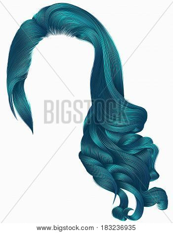 woman trendy long curly hairs wig blue colors . retro style . beauty fashion . realistic 3d .