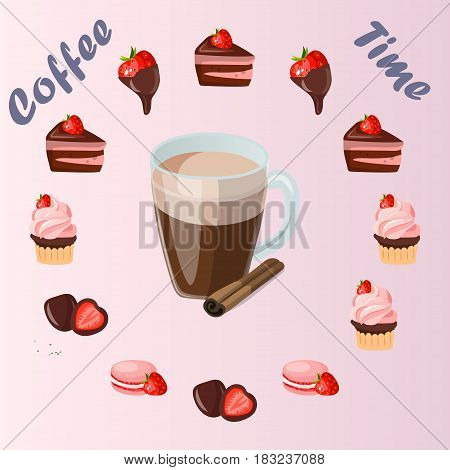 Very high quality original trendy vector illustration cup of cinamon coffee and strawberry sweets