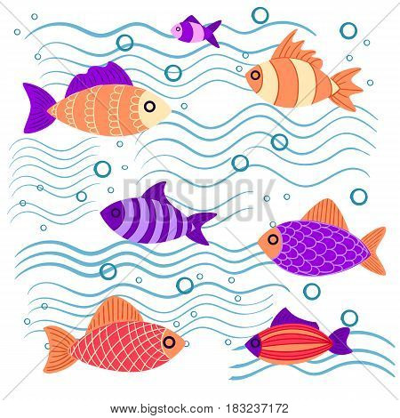Graphic Fish Violet Red Pink With A Pattern And To Leaves Multi-colored Small Fishes In The Sea The