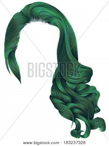 woman trendy long curly hairs wig green colors .retro style . beauty fashion . realistic 3d .