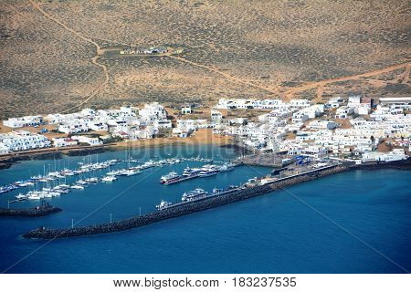 Landscape over Island La Graciosa taken from north of Lanzarote. Canary Islands. Spain.