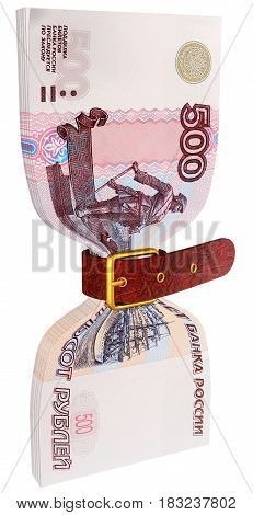 Pack of 500 ruble banknotes tightly constricted belt