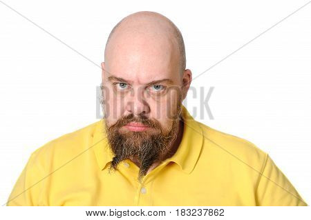 Angry Middle-aged Man In Bright Yellow Clothes On A White Background..