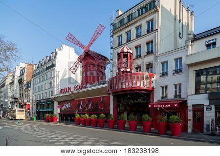 Paris, France, March 26, 2017: Beautiful Paris, Moulin Rouge, France