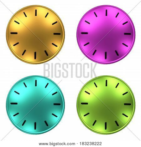 4 clock without arrows background 3D illustration.