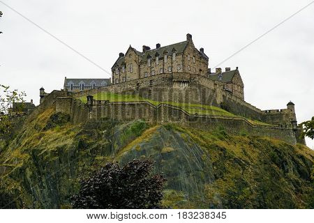Edinburgh castle on castle rock in the capital of Scotland