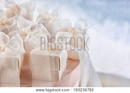 Gift boxes for wedding day, closeup