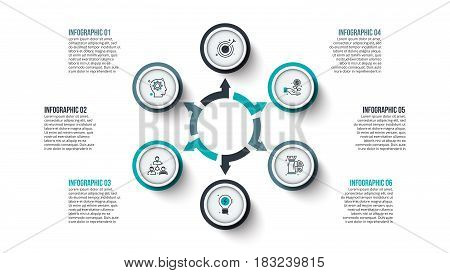 Vector circle infographic. Template for cycle diagram, graph, presentation and chart. Business concept with 6 options, parts, steps or processes. Data visualization. Stroke icons.