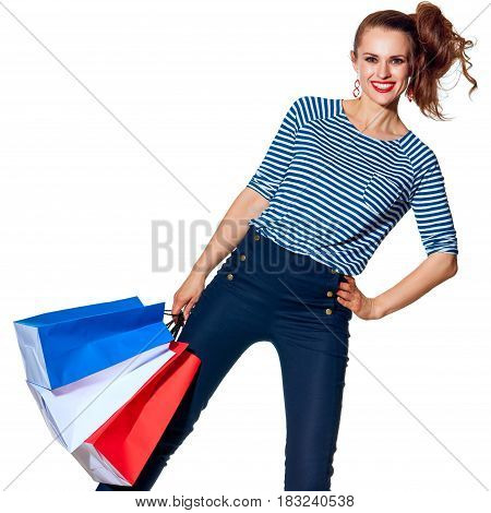Happy Fashion-monger With Shopping Bags On White Background