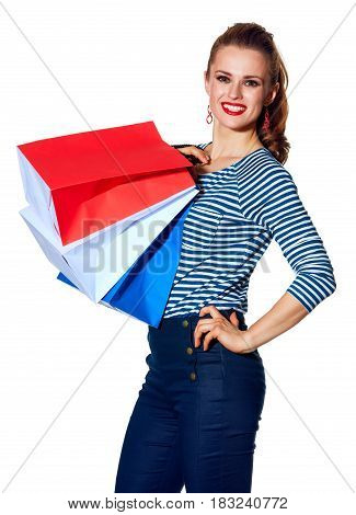 Stylish Fashion-monger With Shopping Bags On White Background