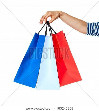 Closeup On Hands With Shopping Bags On White Background