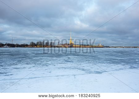 SAINT- PETERSBURG RUSSIA - FEBRUARY 01 2016: The Peter and Paul fortress on sunset Saint Petersburg Russia