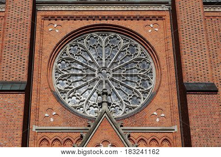 UPPSALA, SWEDEN - JULY 7, 2016: This is an architectural fragment of the Uppsala Cathedral - a window-rose.