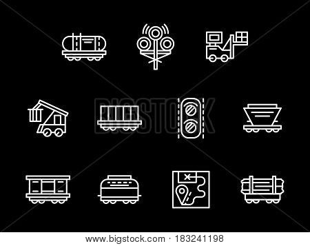 Set of railroad objects and cargo services. Different types of rail wagons, railway traffic and logistics. Collection of simple white line design vector icons on black.