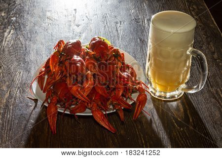 Plate With Boiled Crawfish And A Glass Of Beer