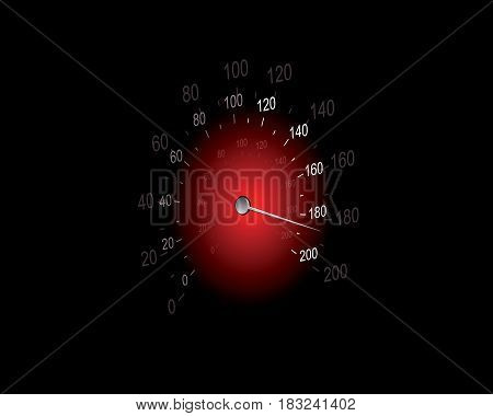 Vector illustration of a speedometer on black