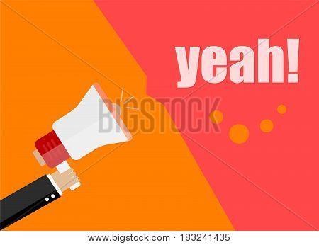 Flat Design Business Concept. Yeah. Digital Marketing Business Man Holding Megaphone For Website And