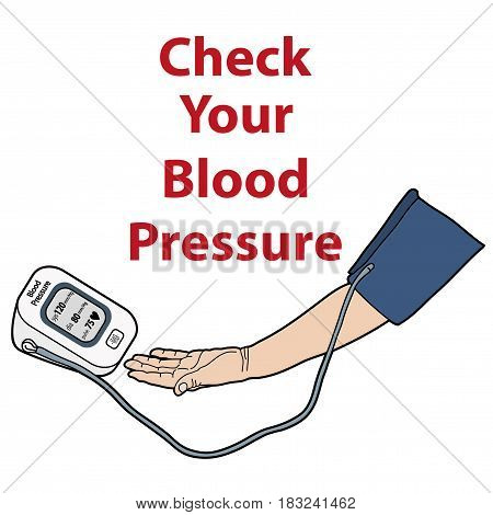 CONTROLLING BLOOD PRESSURE, HAND WITH DEVICE FOR MEASURING PRESSURE ILLUSTRATION VECTOR