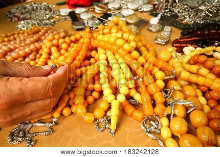 yellow Prayer beads at bazaar for dale