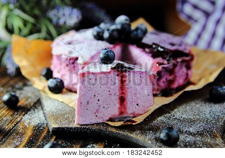 cottage cheese casserole with blueberries and lavender
