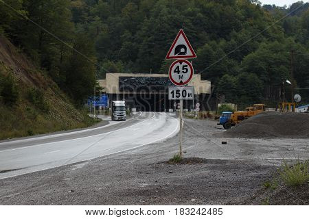 Car tunnel on the pass. The Rikoty Pass: Highway tunnel. Is This Georgias Most Spectacular Road