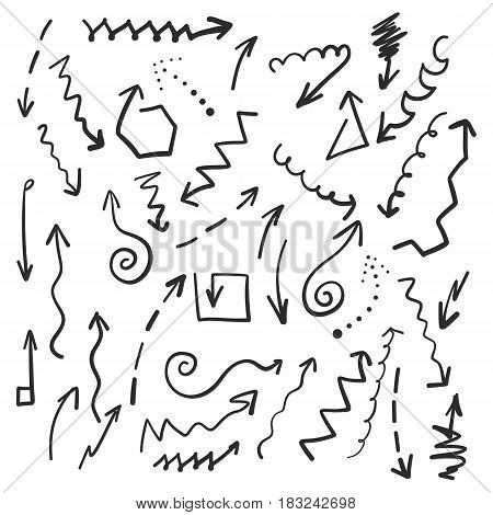 Hand drawn pattern with different arrows. Vector black and white illustration