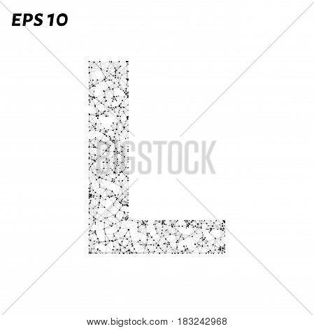 The Letter L Consists Of Points, Lines And Triangles. Vector Illustration.