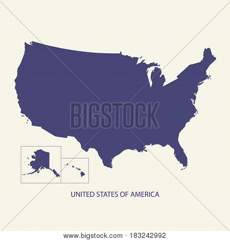 UNITED STATES OF AMERICA, USA MAP SIMPLE ILLUSTRATION VECTOR
