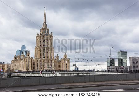 Moscow Russia - April 24 2017: Radisson Royal Hotel (Hotel Ukraina)