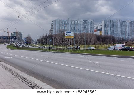 Moscow Russia - April 24 2017: Day traffic on Kashira Highway Russia Moscow