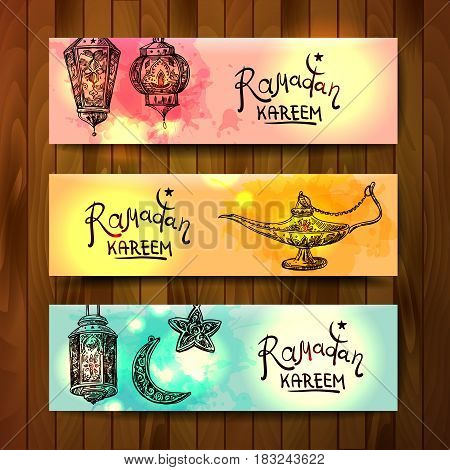 Banner with illustration lamps and stars. Ramadan kareem. Good for post card, Invitations.