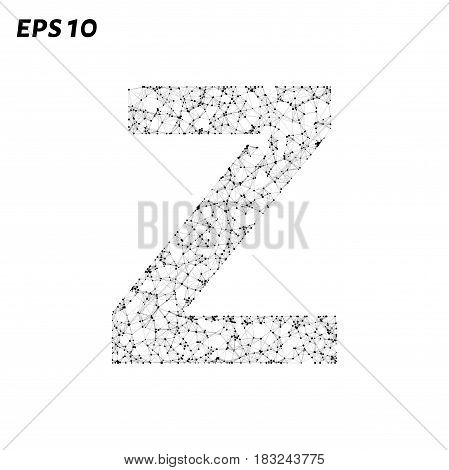 The Letter Z Consists Of Points, Lines And Triangles. Vector Illustration.