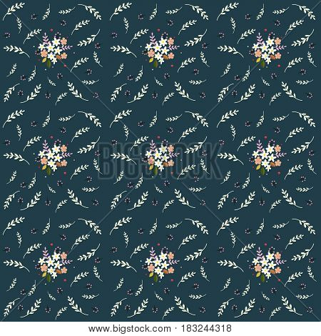 Seamless floral pattern composition small field flowers twigs berries leaves on navy background fabric tapestry wallpaper design
