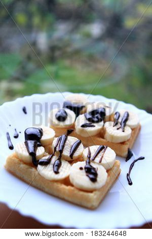 cake, banana e chocolate